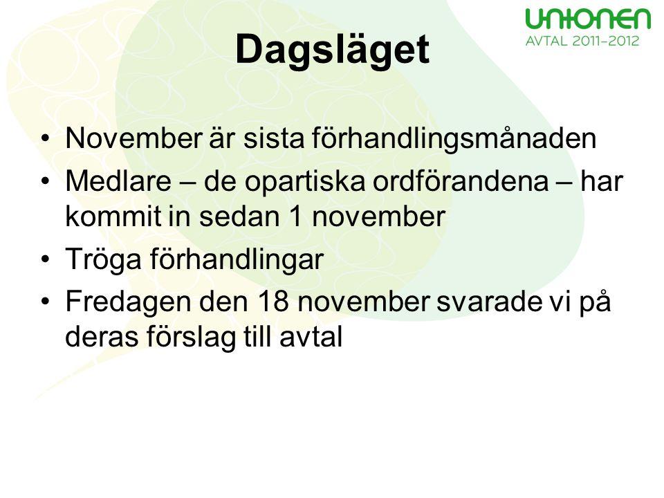 Dagsläget November är sista förhandlingsmånaden Medlare – de opartiska ordförandena – har kommit in sedan 1 november Tröga förhandlingar Fredagen den 18 november svarade vi på deras förslag till avtal
