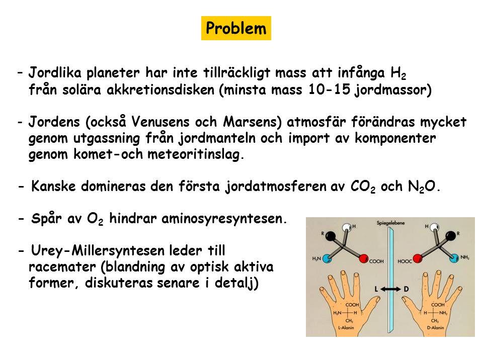 Problem - Jordlika planeter har inte tillräckligt mass att infånga H 2 från solära akkretionsdisken (minsta mass 10-15 jordmassor) - Jordens (också Venusens och Marsens) atmosfär förändras mycket genom utgassning från jordmanteln och import av komponenter genom komet-och meteoritinslag.