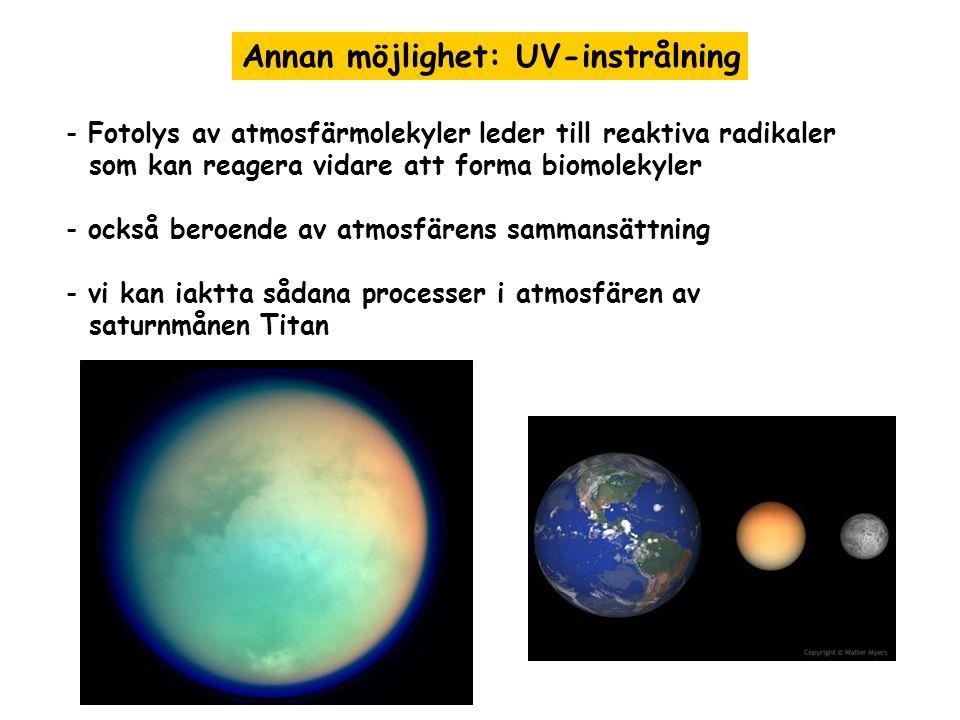 Annan möjlighet: UV-instrålning - Fotolys av atmosfärmolekyler leder till reaktiva radikaler som kan reagera vidare att forma biomolekyler - också beroende av atmosfärens sammansättning - vi kan iaktta sådana processer i atmosfären av saturnmånen Titan