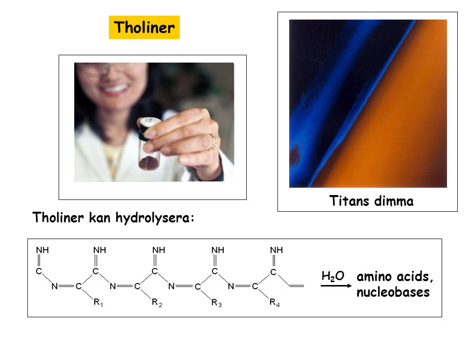 Tholiner Titan's haze layer from Cassini H2OH2O amino acids, nucleobases Titans dimma Tholiner kan hydrolysera:
