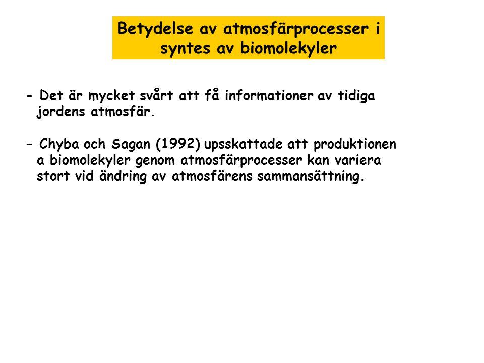 - Det är mycket svårt att få informationer av tidiga jordens atmosfär. - Chyba och Sagan (1992) upsskattade att produktionen a biomolekyler genom atmo