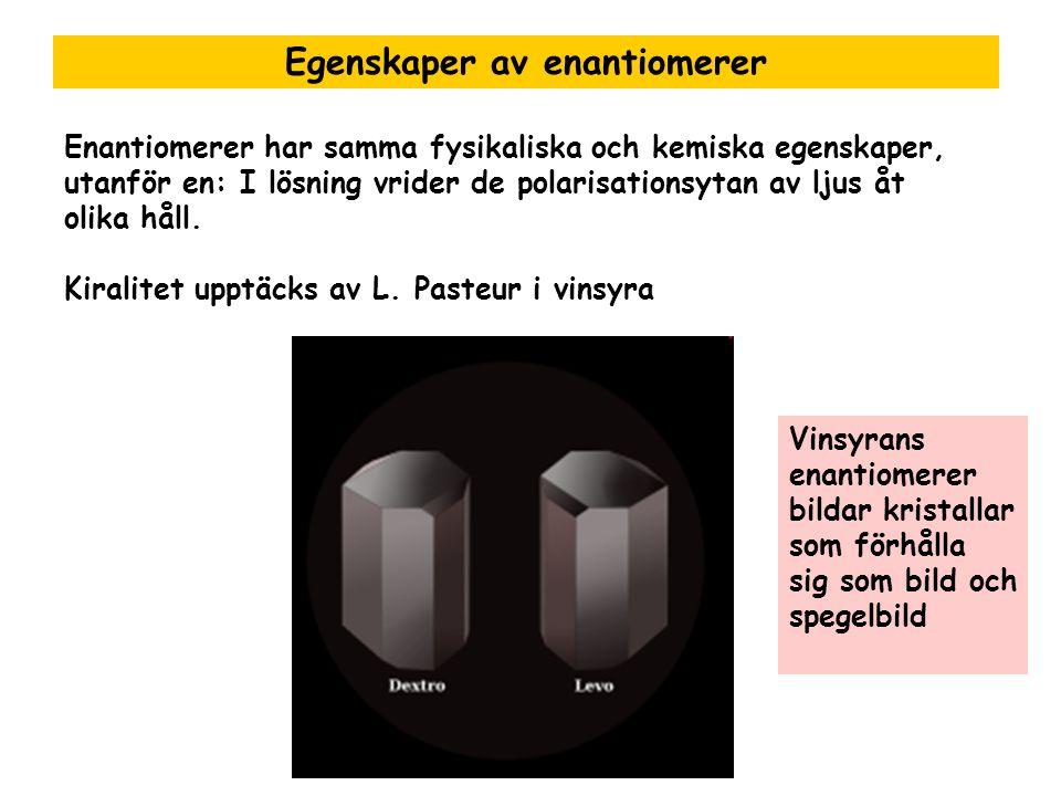 Egenskaper av enantiomerer Enantiomerer har samma fysikaliska och kemiska egenskaper, utanför en: I lösning vrider de polarisationsytan av ljus åt oli