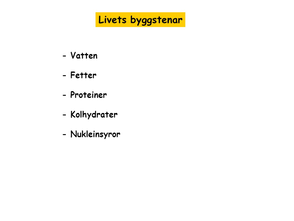Livets byggstenar - Vatten - Fetter - Proteiner - Kolhydrater - Nukleinsyror
