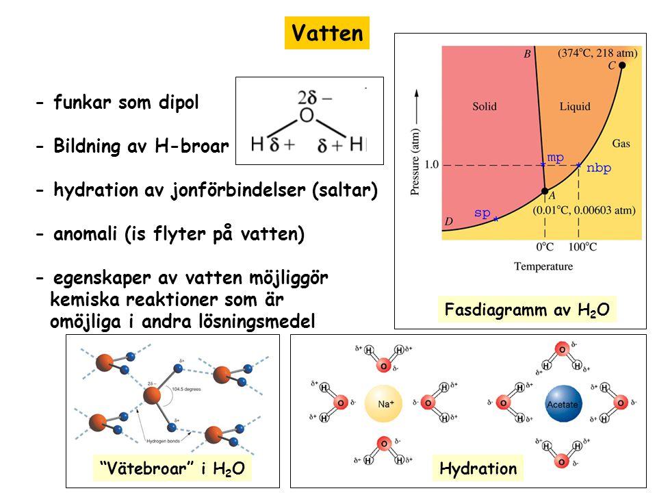 Vatten - funkar som dipol - Bildning av H-broar - hydration av jonförbindelser (saltar) - anomali (is flyter på vatten) - egenskaper av vatten möjligg