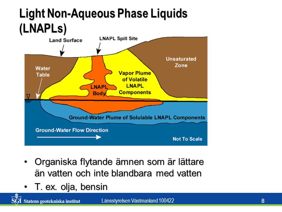 Länsstyrelsen Västmanland 100422 8 Light Non-Aqueous Phase Liquids (LNAPLs) Organiska flytande ämnen som är lättare än vatten och inte blandbara med v