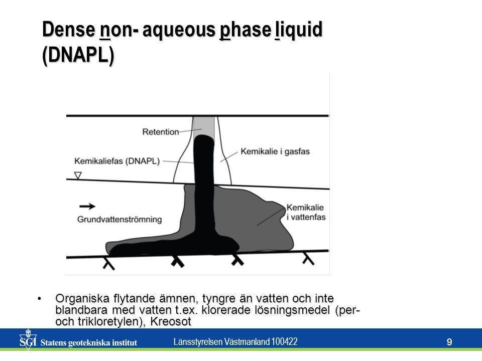 Länsstyrelsen Västmanland 100422 9 Dense non- aqueous phase liquid (DNAPL) Organiska flytande ämnen, tyngre än vatten och inte blandbara med vatten t.