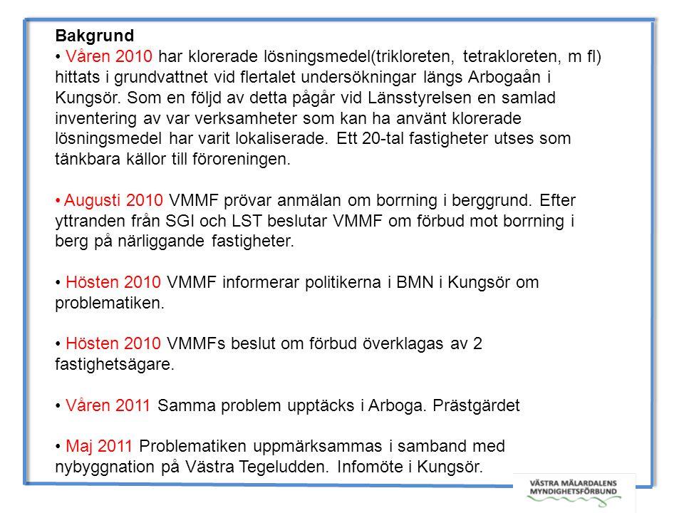 Bakgrund Våren 2010 har klorerade lösningsmedel(trikloreten, tetrakloreten, m fl) hittats i grundvattnet vid flertalet undersökningar längs Arbogaån i