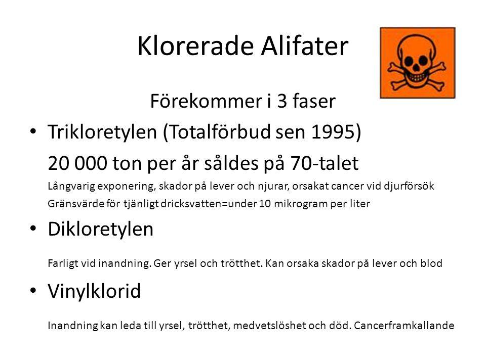 Klorerade Alifater Förekommer i 3 faser Trikloretylen (Totalförbud sen 1995) 20 000 ton per år såldes på 70-talet Långvarig exponering, skador på leve