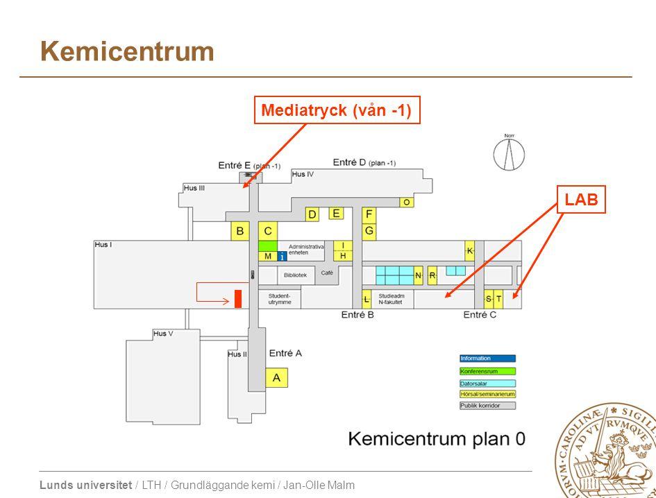 Lunds universitet / LTH / Grundläggande kemi / Jan-Olle Malm Kemicentrum LAB Mediatryck (vån -1)