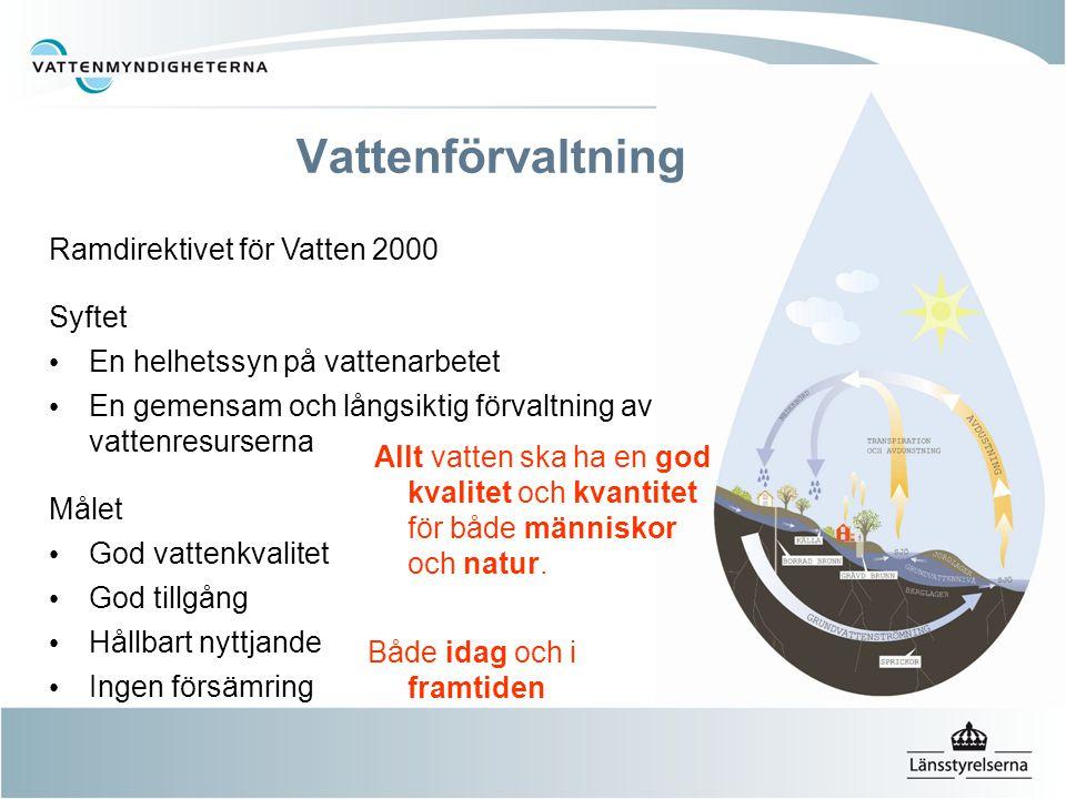 Ramdirektivet för Vatten 2000 Syftet En helhetssyn på vattenarbetet En gemensam och långsiktig förvaltning av vattenresurserna Målet God vattenkvalite
