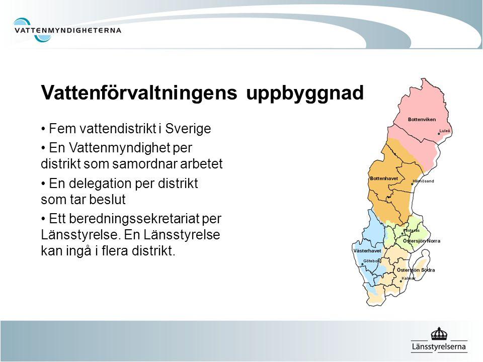Vattenförvaltningens uppbyggnad Fem vattendistrikt i Sverige En Vattenmyndighet per distrikt som samordnar arbetet En delegation per distrikt som tar