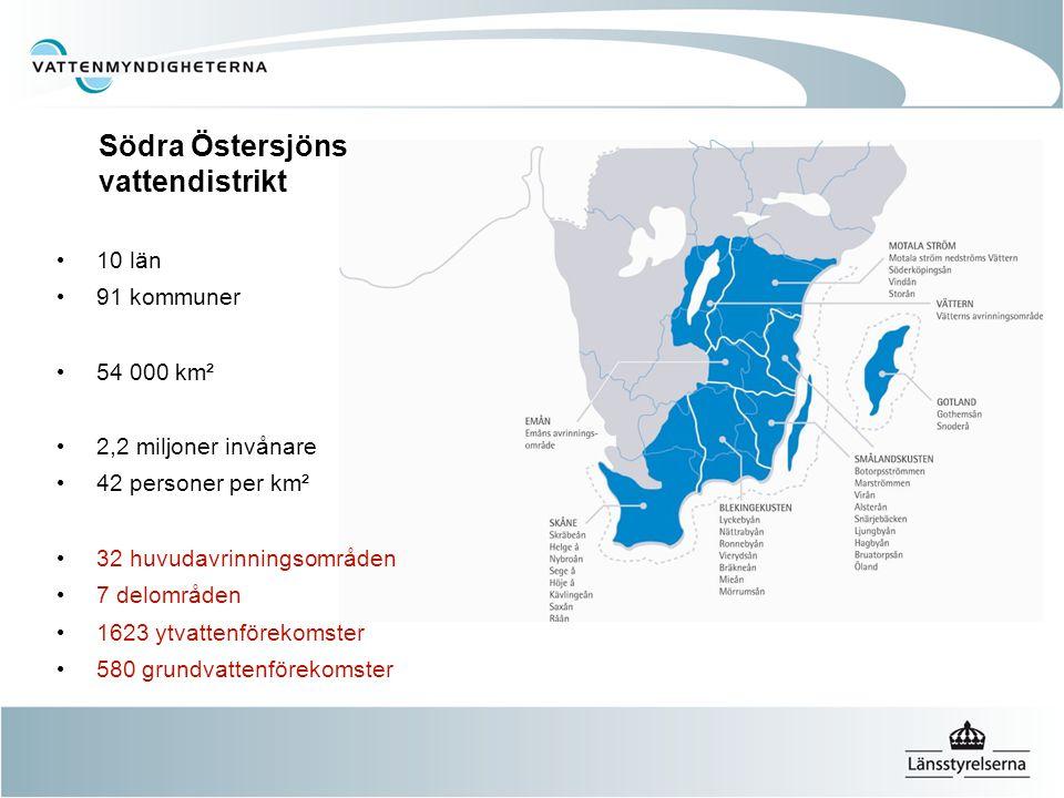 Södra Östersjöns vattendistrikt 10 län 91 kommuner 54 000 km² 2,2 miljoner invånare 42 personer per km² 32 huvudavrinningsområden 7 delområden 1623 yt