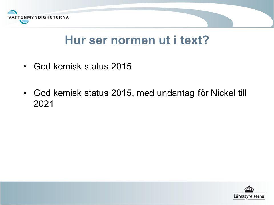 Hur ser normen ut i text? God kemisk status 2015 God kemisk status 2015, med undantag för Nickel till 2021