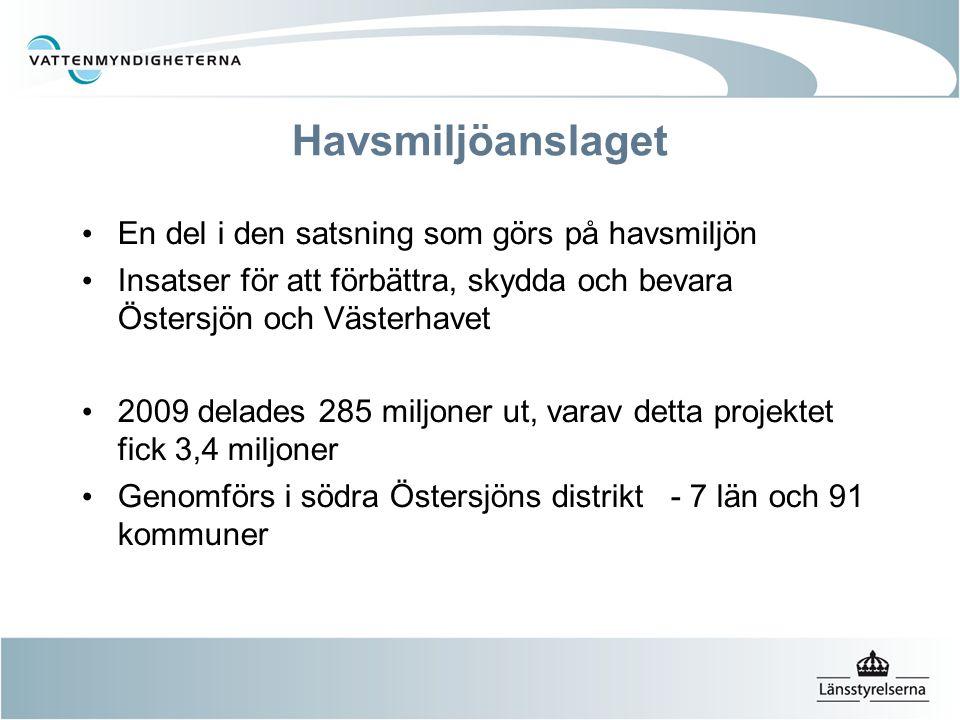Havsmiljöanslaget En del i den satsning som görs på havsmiljön Insatser för att förbättra, skydda och bevara Östersjön och Västerhavet 2009 delades 28