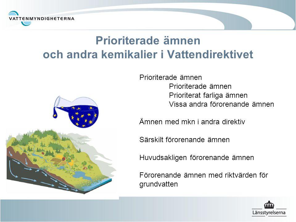 Prioriterade ämnen och andra kemikalier i Vattendirektivet Prioriterade ämnen Prioriterat farliga ämnen Vissa andra förorenande ämnen Ämnen med mkn i