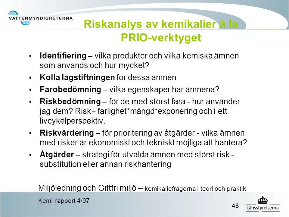 48 Riskanalys av kemikalier à la PRIO-verktyget Identifiering – vilka produkter och vilka kemiska ämnen som används och hur mycket? Kolla lagstiftning