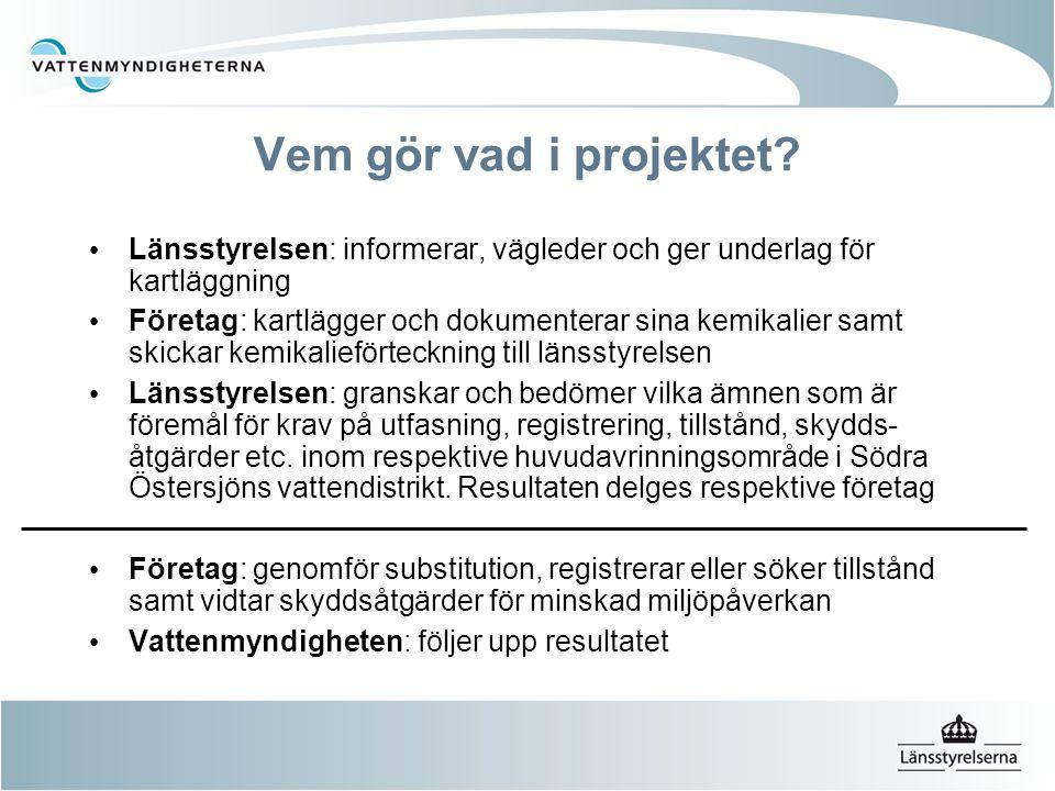 God statusEj uppnått God status Mål för alla vatten- förekomster till 2015 Kemisk status Åtgärder  EU gemensamma gränsvärden för prioriterade ämnen  Miljökvalitetsnormer i andra direktiv Ytvatten Prioriterade ämnen 33 ämnen och ämnesgrupper utvalda för åtgärder för att förhindra förorening av vatten + 8 ämnen till Med gränsvärden satta inom EU – blir troligtvis miljökvalitetsnormer här