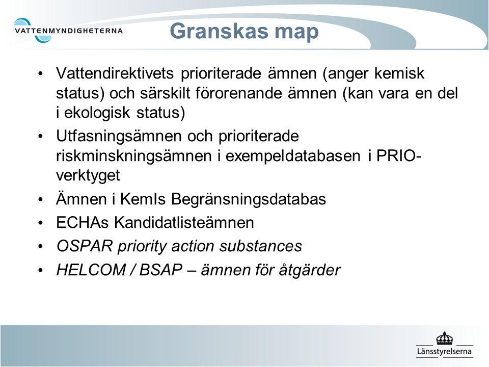 Vi granskar map Vattendirektivets prioriterade ämnen (anger kemisk status) och särskilt förorenande ämnen (kan vara en del i ekologisk status) Utfasningsämnen och prioriterade riskminskningsämnen i exempeldatabasen i PRIO- verktyget Ämnen i KemIs Begränsningsdatabas ECHAs Kandidatlisteämnen OSPAR priority action substances HELCOM / BSAP – ämnen för åtgärder