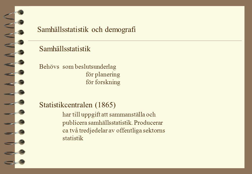 Samhällsstatistik och demografi Samhällsstatistik Behövs som beslutsunderlag för planering för forskning Statistikcentralen (1865) har till uppgift at