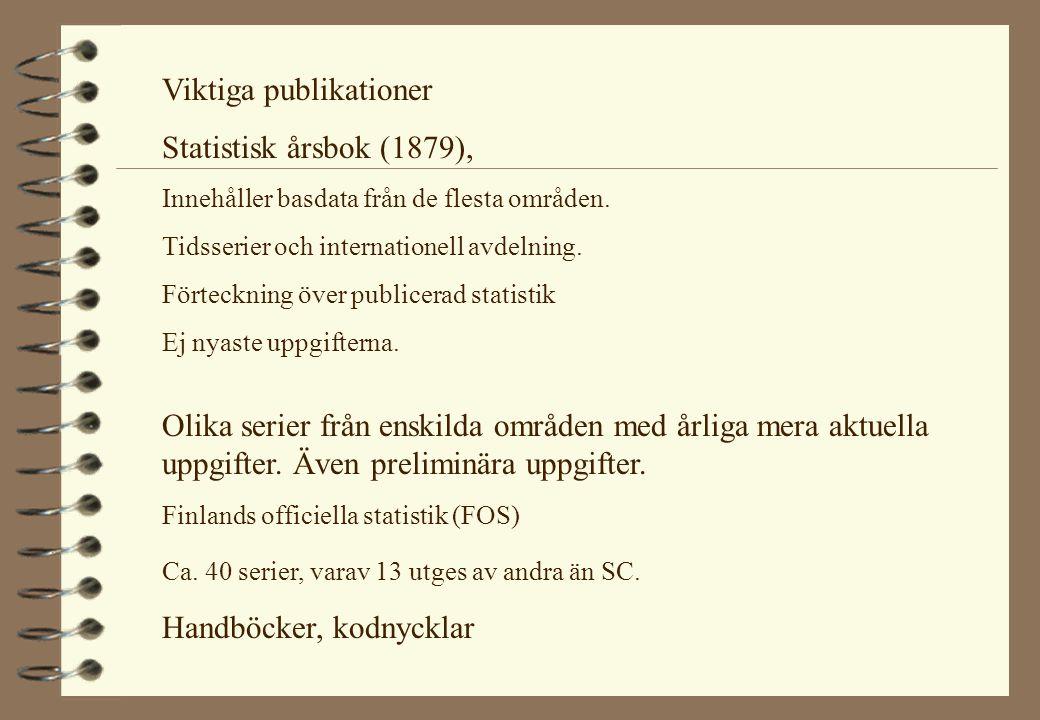 Olika serier från enskilda områden med årliga mera aktuella uppgifter. Även preliminära uppgifter. Finlands officiella statistik (FOS) Ca. 40 serier,