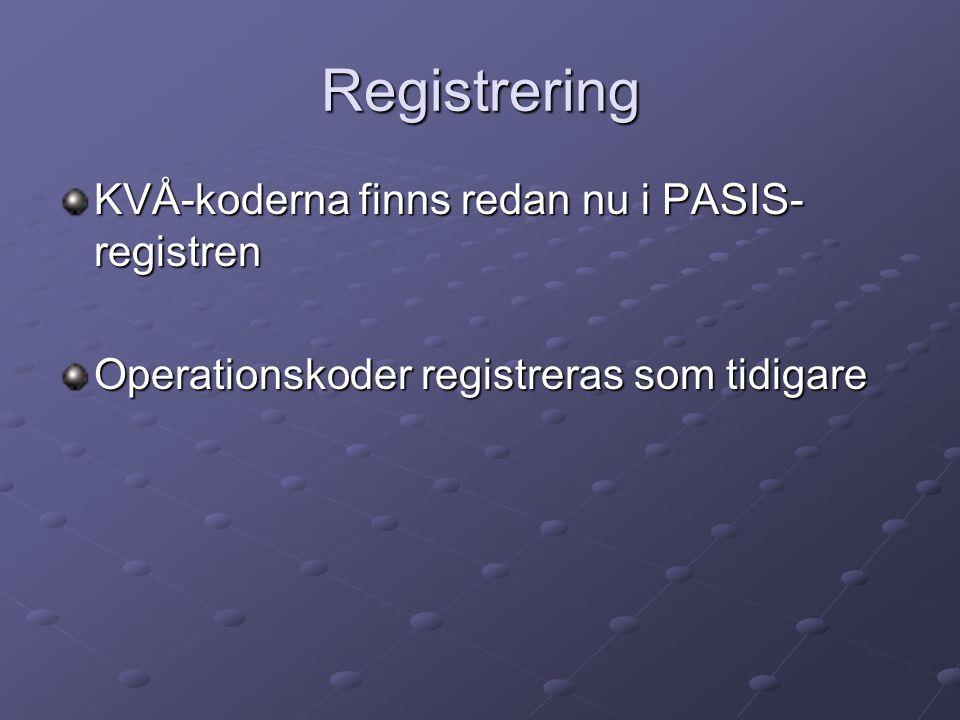 Registrering KVÅ-koderna finns redan nu i PASIS- registren Operationskoder registreras som tidigare