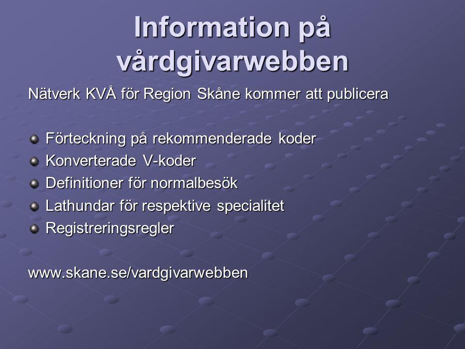 Information på vårdgivarwebben Nätverk KVÅ för Region Skåne kommer att publicera Förteckning på rekommenderade koder Konverterade V-koder Definitioner för normalbesök Lathundar för respektive specialitet Registreringsreglerwww.skane.se/vardgivarwebben