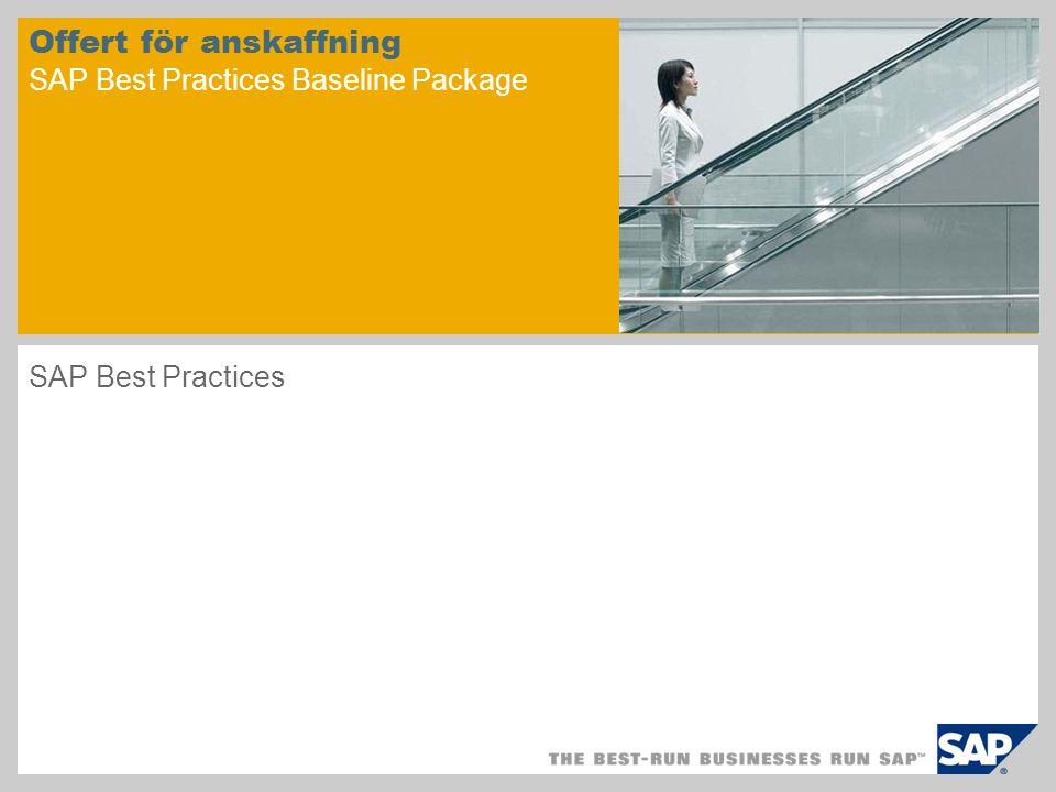 Offert för anskaffning SAP Best Practices Baseline Package SAP Best Practices