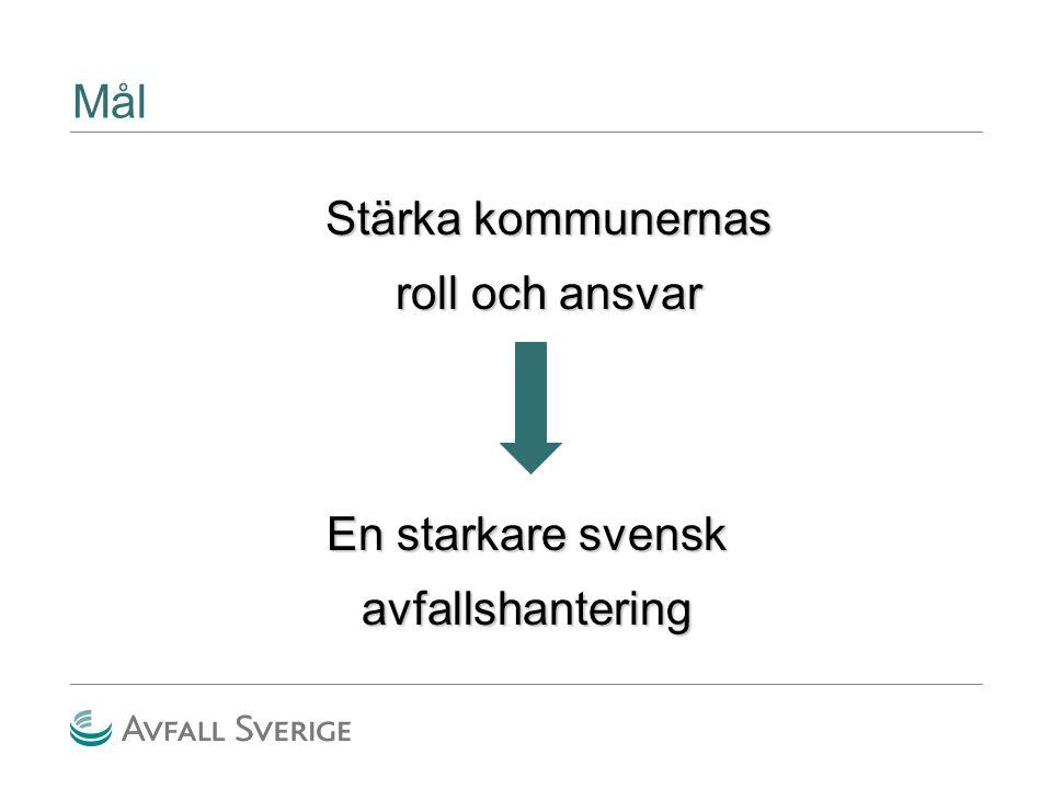 Stärka kommunernas roll och ansvar Mål En starkare svensk avfallshantering