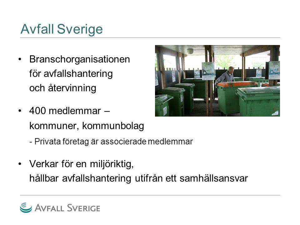 Avfall Sverige Branschorganisationen för avfallshantering och återvinning 400 medlemmar – kommuner, kommunbolag - Privata företag är associerade medle