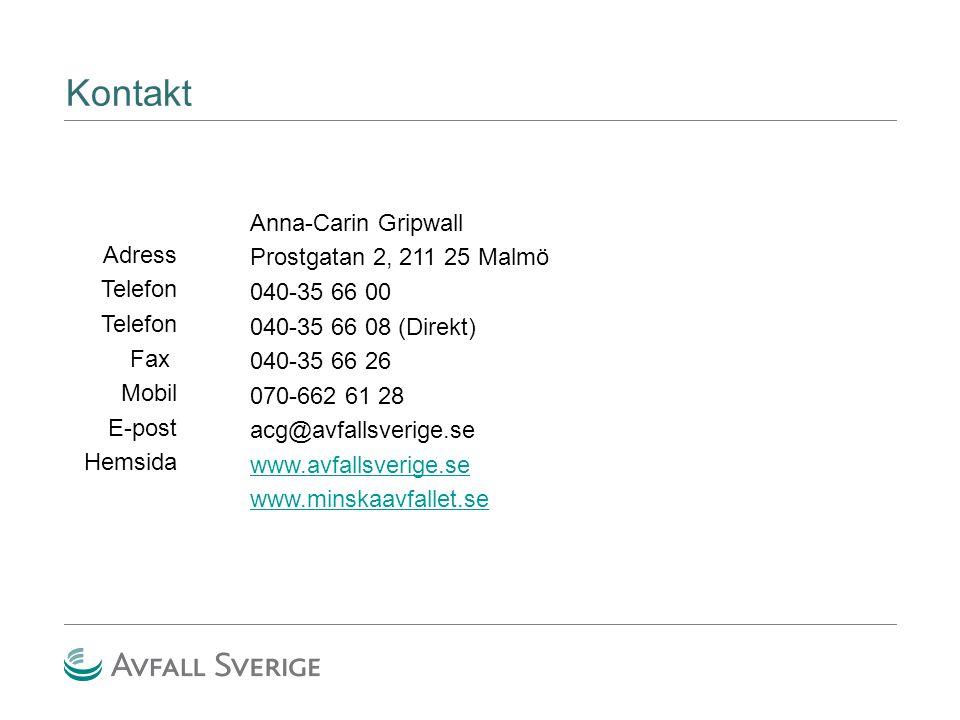 Kontakt Adress Telefon Fax Mobil E-post Hemsida Anna-Carin Gripwall Prostgatan 2, 211 25 Malmö 040-35 66 00 040-35 66 08 (Direkt) 040-35 66 26 070-662 61 28 acg@avfallsverige.se www.avfallsverige.se www.minskaavfallet.se