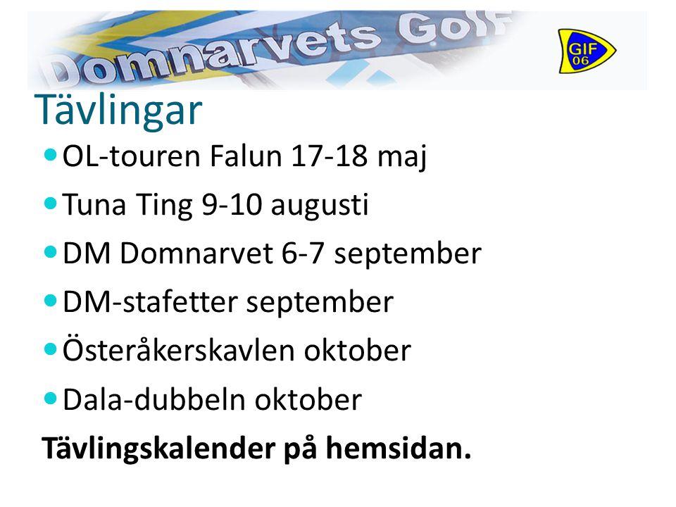 Tävlingar OL-touren Falun 17-18 maj Tuna Ting 9-10 augusti DM Domnarvet 6-7 september DM-stafetter september Österåkerskavlen oktober Dala-dubbeln oktober Tävlingskalender på hemsidan.