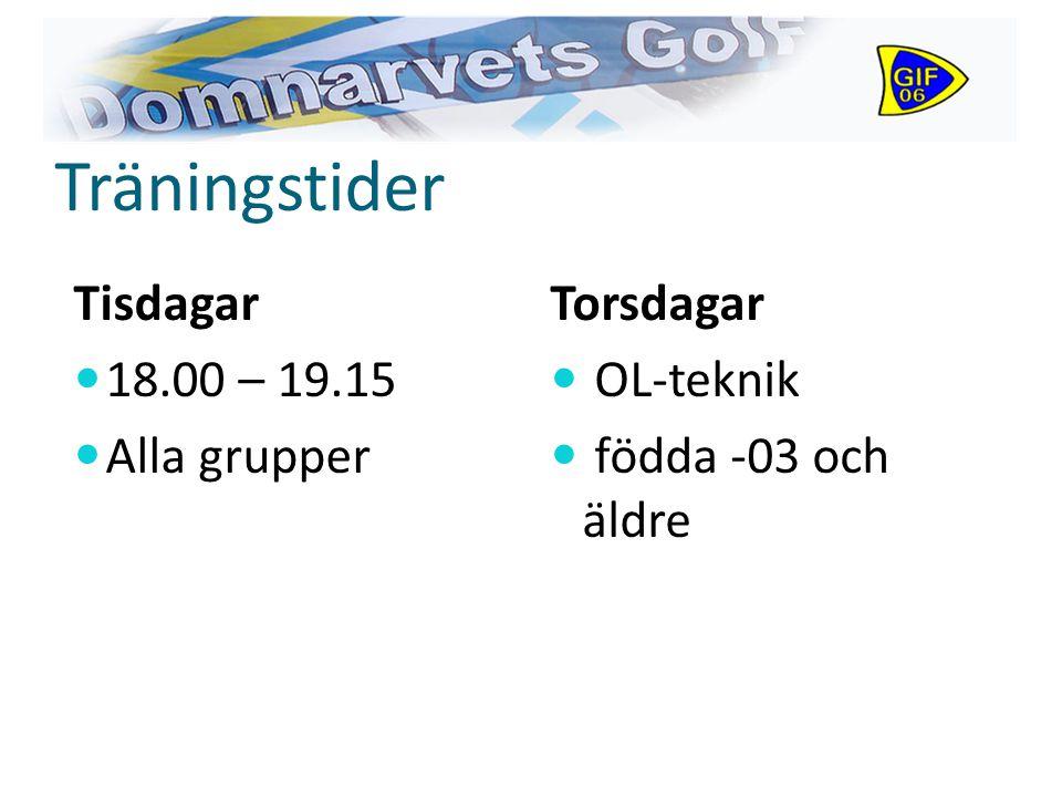 Träningstider Tisdagar 18.00 – 19.15 Alla grupper Torsdagar OL-teknik födda -03 och äldre
