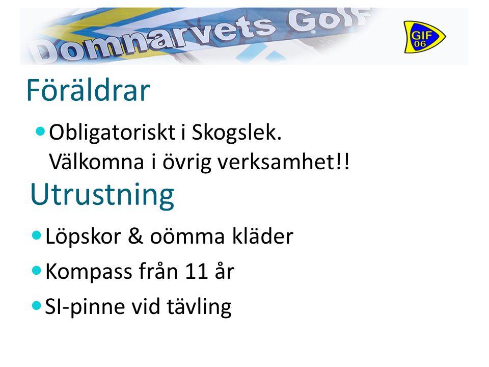 Föräldrar Löpskor & oömma kläder Kompass från 11 år SI-pinne vid tävling Utrustning Obligatoriskt i Skogslek.