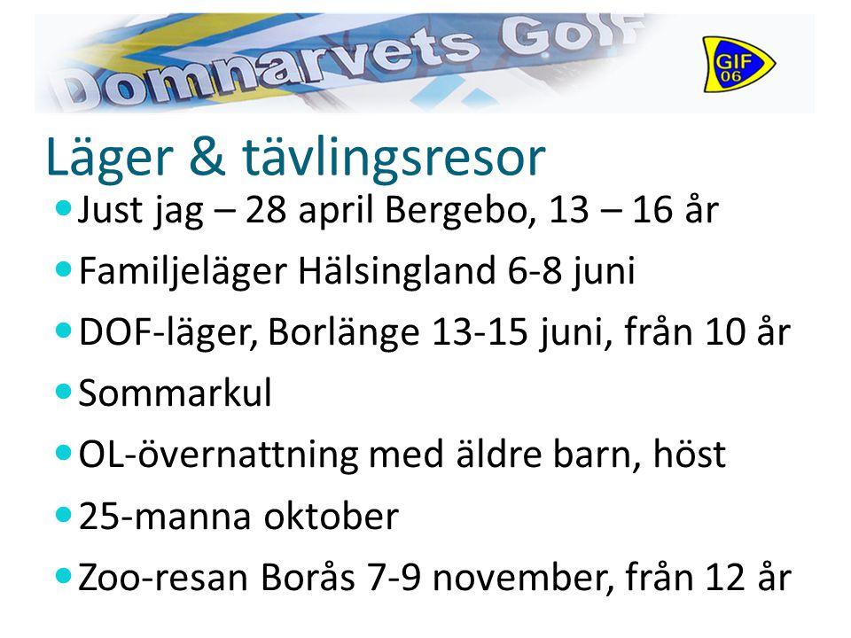Läger & tävlingsresor Just jag – 28 april Bergebo, 13 – 16 år Familjeläger Hälsingland 6-8 juni DOF-läger, Borlänge 13-15 juni, från 10 år Sommarkul OL-övernattning med äldre barn, höst 25-manna oktober Zoo-resan Borås 7-9 november, från 12 år