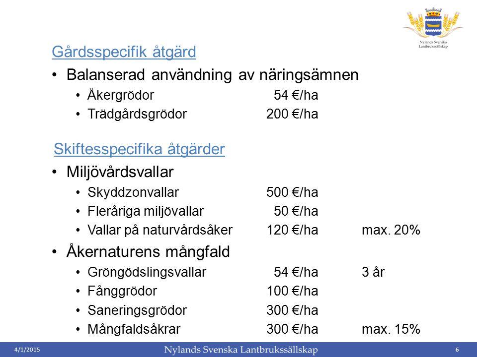 Gårdsspecifik åtgärd Balanserad användning av näringsämnen Åkergrödor 54 €/ha Trädgårdsgrödor200 €/ha Skiftesspecifika åtgärder Miljövårdsvallar Skydd