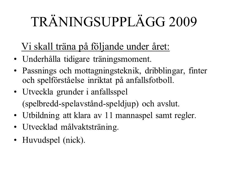 TRÄNINGSUPPLÄGG 2009 Vi skall träna på följande under året: Underhålla tidigare träningsmoment. Passnings och mottagningsteknik, dribblingar, finter o
