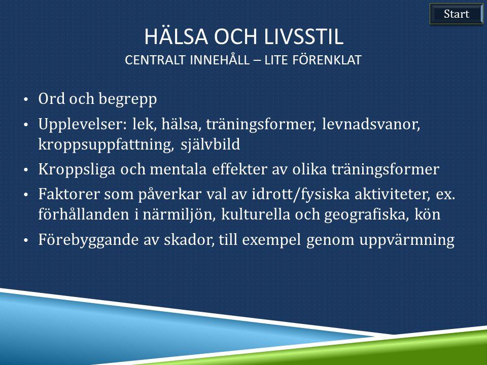 Ord och begrepp Upplevelser: lek, hälsa, träningsformer, levnadsvanor, kroppsuppfattning, självbild Kroppsliga och mentala effekter av olika träningsf
