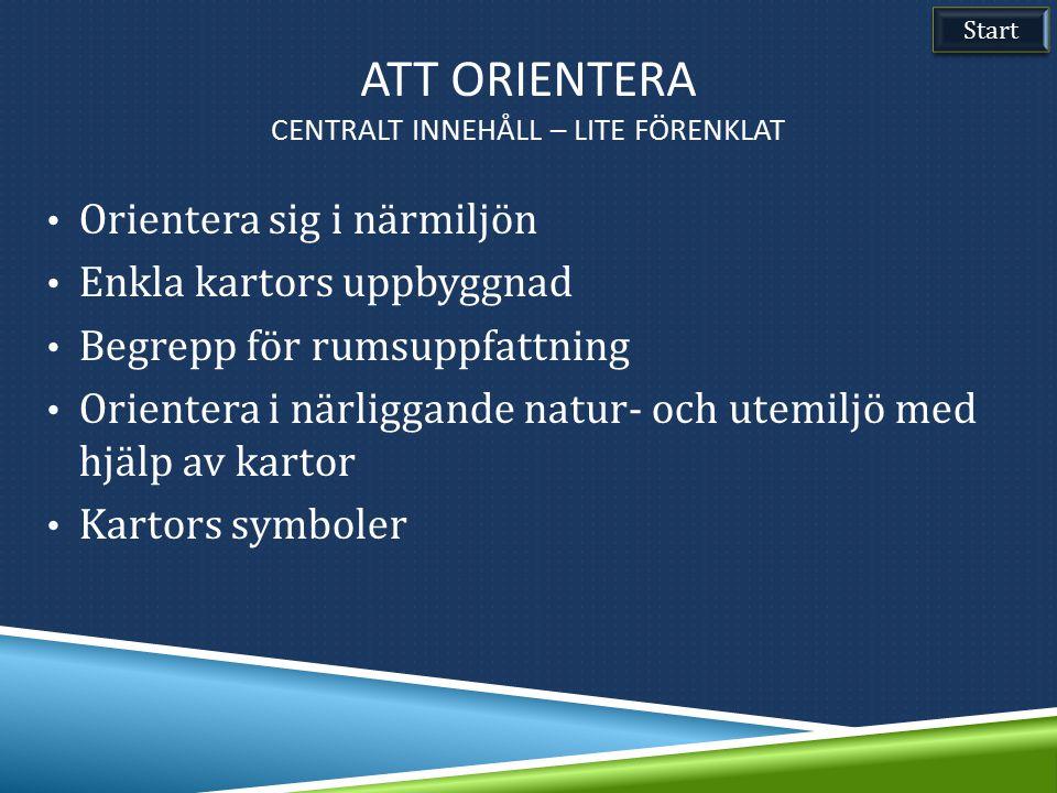 Orientera sig i närmiljön Enkla kartors uppbyggnad Begrepp för rumsuppfattning Orientera i närliggande natur- och utemiljö med hjälp av kartor Kartors