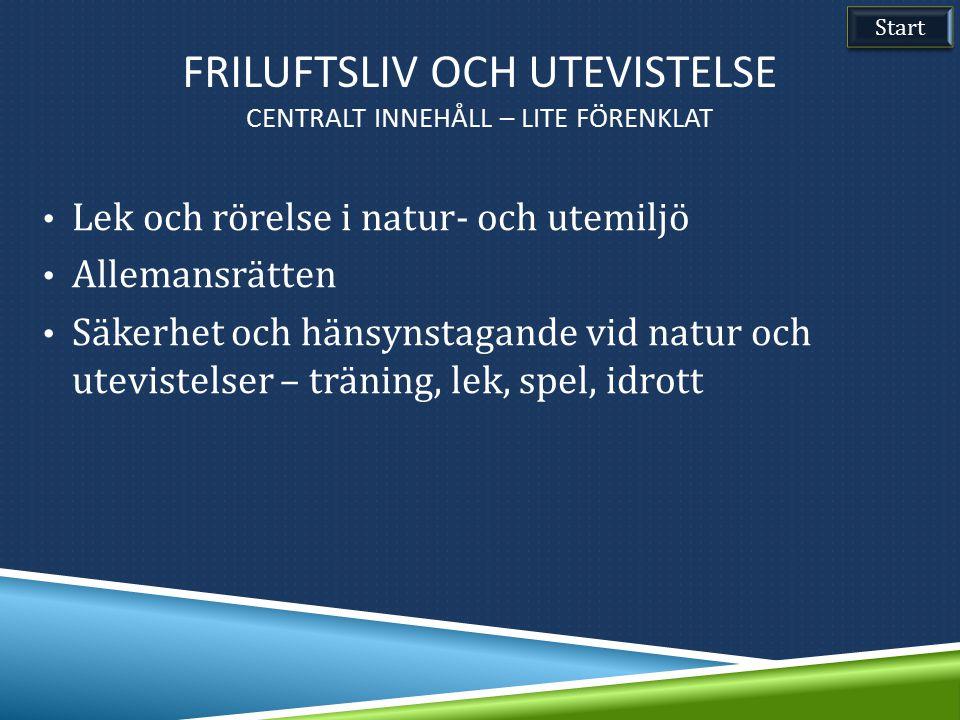 Lek och rörelse i natur- och utemiljö Allemansrätten Säkerhet och hänsynstagande vid natur och utevistelser – träning, lek, spel, idrott Start FRILUFT