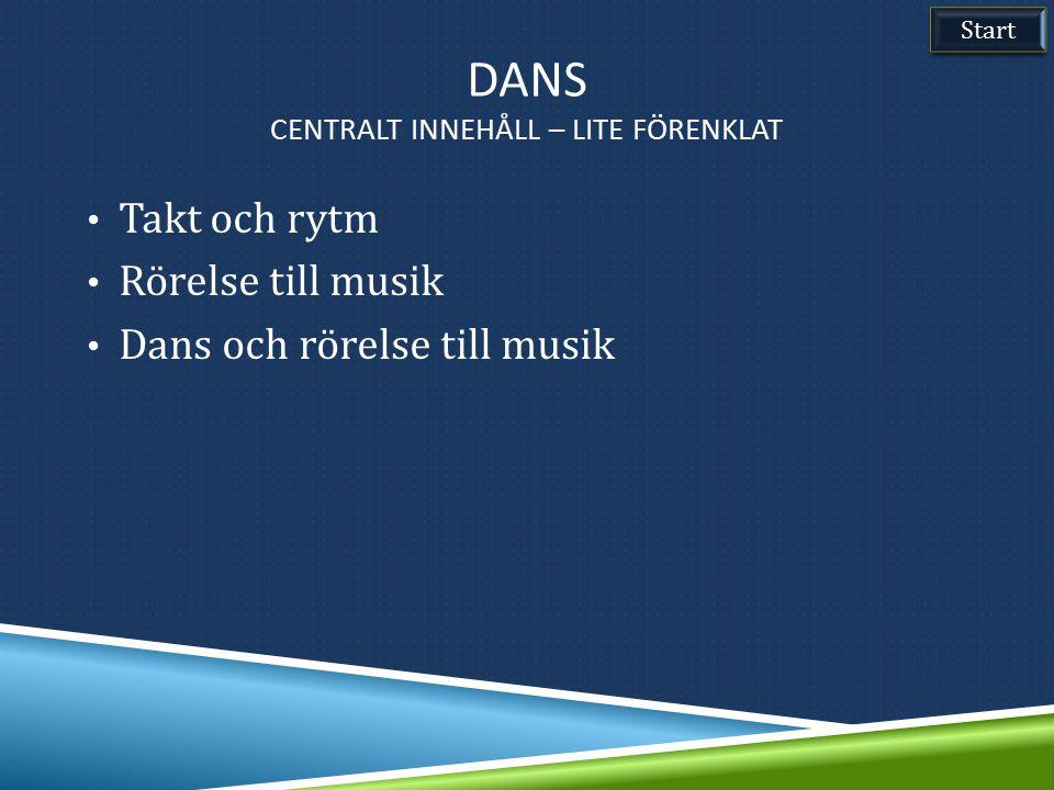 DANS CENTRALT INNEHÅLL – LITE FÖRENKLAT Takt och rytm Rörelse till musik Dans och rörelse till musik Start