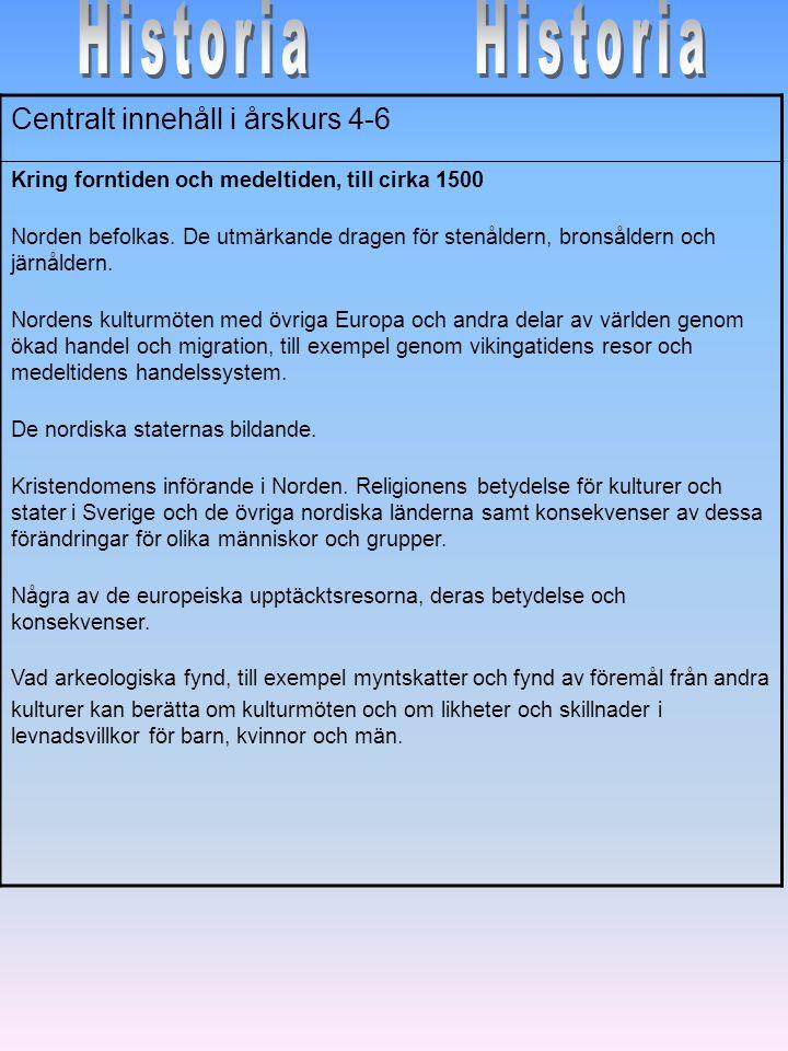 Centralt innehåll i årskurs 4-6 Kring forntiden och medeltiden, till cirka 1500 Norden befolkas. De utmärkande dragen för stenåldern, bronsåldern och