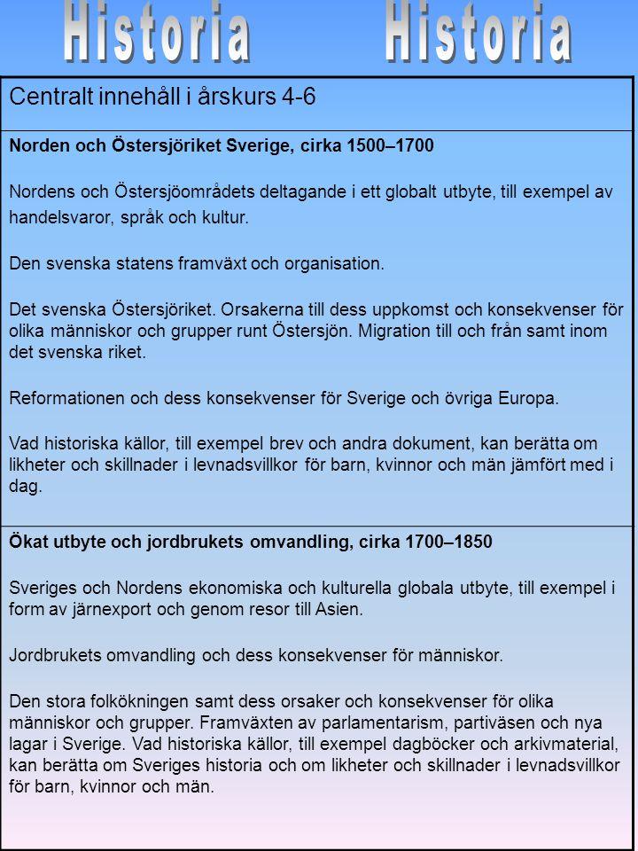 Centralt innehåll i årskurs 4-6 Norden och Östersjöriket Sverige, cirka 1500–1700 Nordens och Östersjöområdets deltagande i ett globalt utbyte, till e