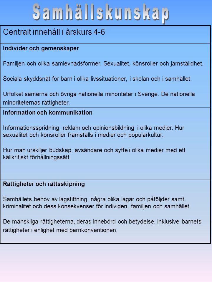 Centralt innehåll i årskurs 4-6 Individer och gemenskaper Familjen och olika samlevnadsformer. Sexualitet, könsroller och jämställdhet. Sociala skydds