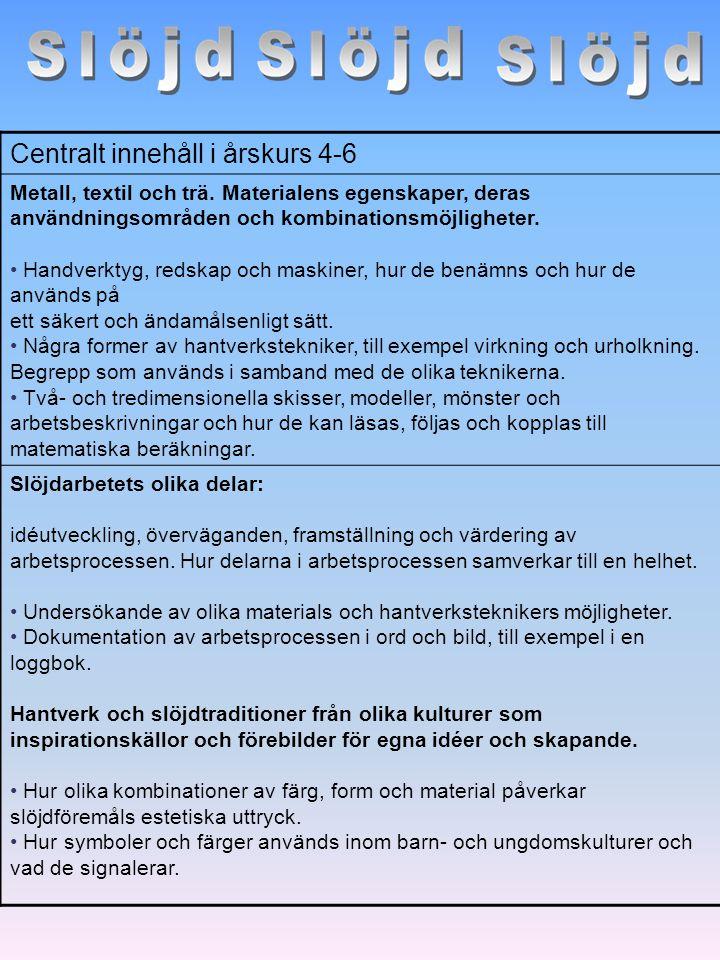 Centralt innehåll i årskurs 4-6 Metall, textil och trä. Materialens egenskaper, deras användningsområden och kombinationsmöjligheter. Handverktyg, red