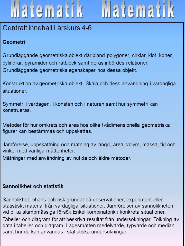 Centralt innehåll i årskurs 4-6 Samband och förändring Proportionalitet och procent samt deras samband.