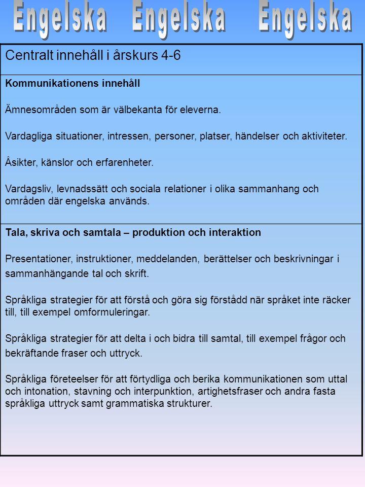 Centralt innehåll i årskurs 4-6 Kommunikationens innehåll Ämnesområden som är välbekanta för eleverna. Vardagliga situationer, intressen, personer, pl