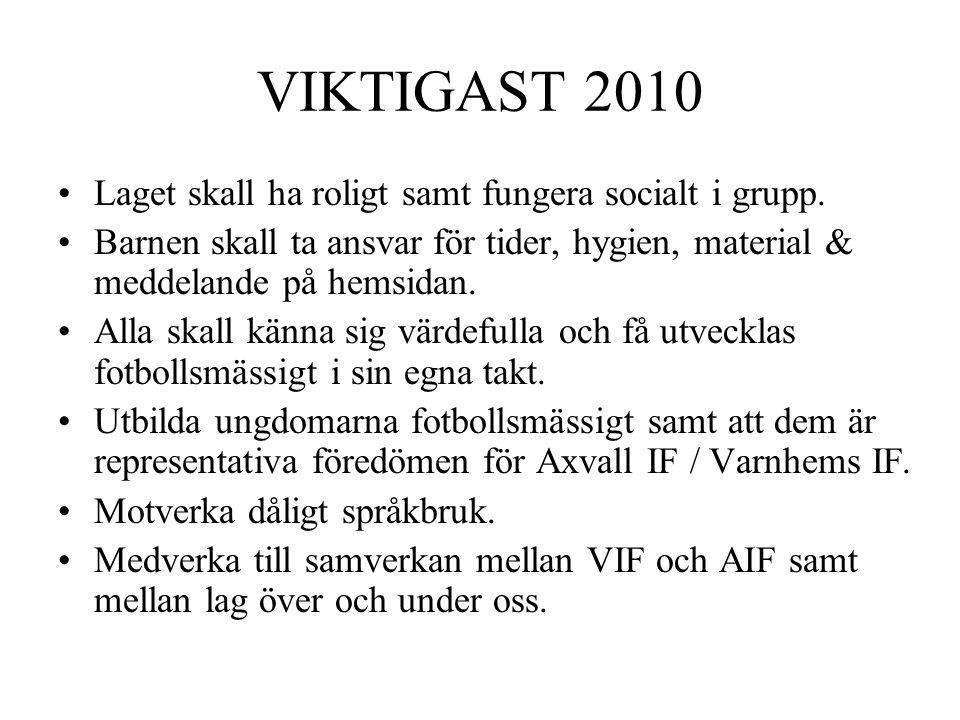 VIKTIGAST 2010 Laget skall ha roligt samt fungera socialt i grupp.