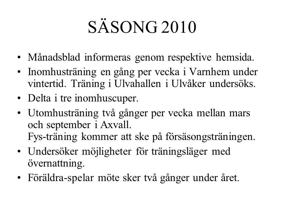SÄSONG 2010 Månadsblad informeras genom respektive hemsida. Inomhusträning en gång per vecka i Varnhem under vintertid. Träning i Ulvahallen i Ulvåker