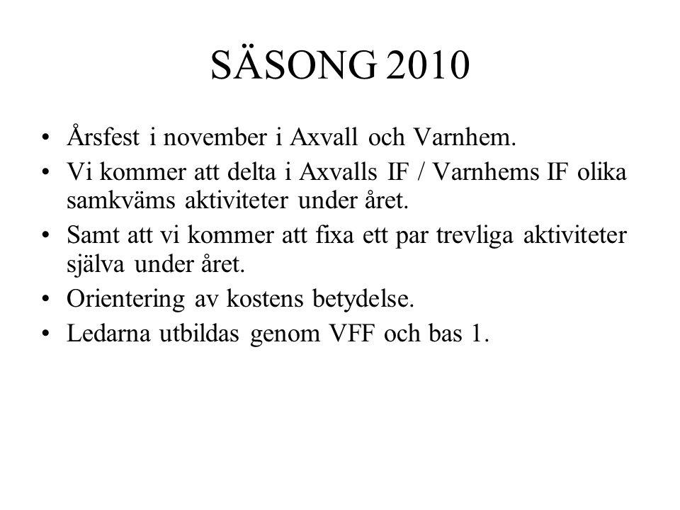 SÄSONG 2010 Årsfest i november i Axvall och Varnhem. Vi kommer att delta i Axvalls IF / Varnhems IF olika samkväms aktiviteter under året. Samt att vi