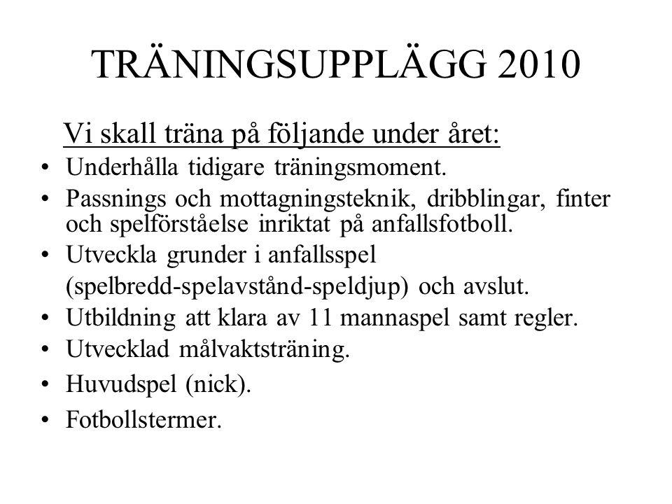 TRÄNINGSUPPLÄGG 2010 Vi skall träna på följande under året: Underhålla tidigare träningsmoment. Passnings och mottagningsteknik, dribblingar, finter o